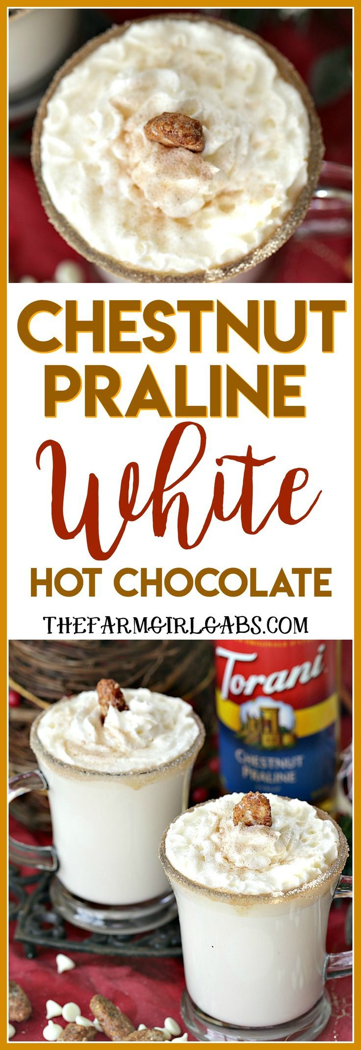 Warm up with a mug of Chestnut Praline White Hot Chocolate. Save money by making your own drink recipes at home using Torani Syrups! #Ad #HotChocolate #AToraniHoliday #DrinkRecipe #Christmas @ToraniFlavor