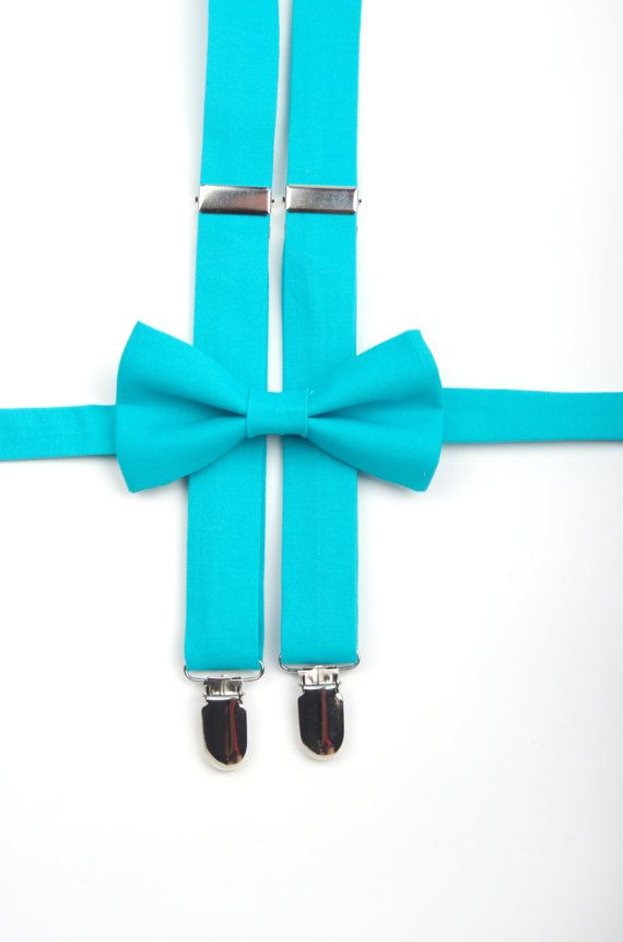 Turquoise suspenders & bow tie set for Ring Bearer