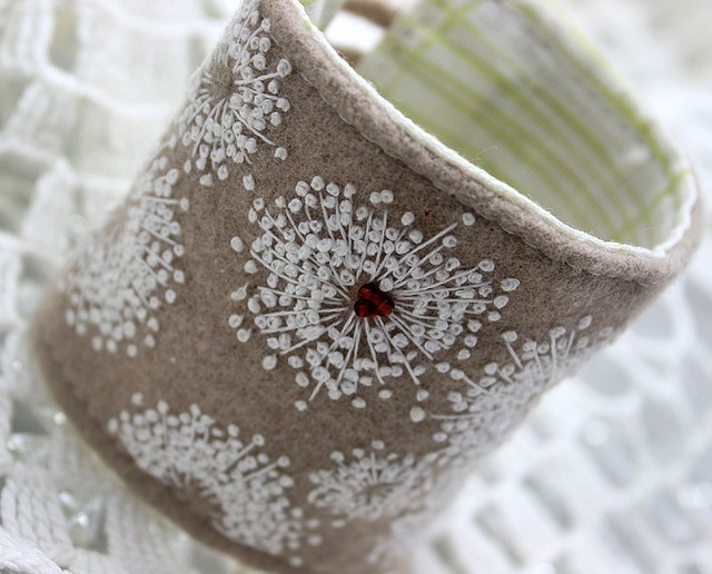 Queen Anne's Lace Embroidered Wool Cuff | Felted wool