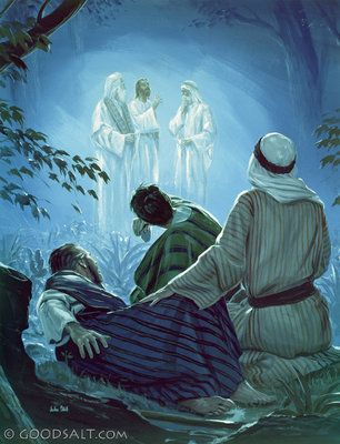 Matthew 17: The transfiguration. Jesus led Peter, James and John his brother to the top of the mountain and transfigured before them. His face shone like the sun, and His garments became as white as light. And behold, Moses and Elijah appeared to them, talking with Him [Jesus].
