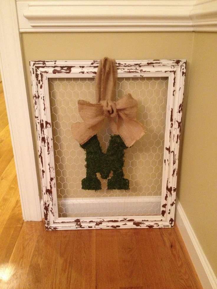 Distressed frame with moss letter and burlap bow!