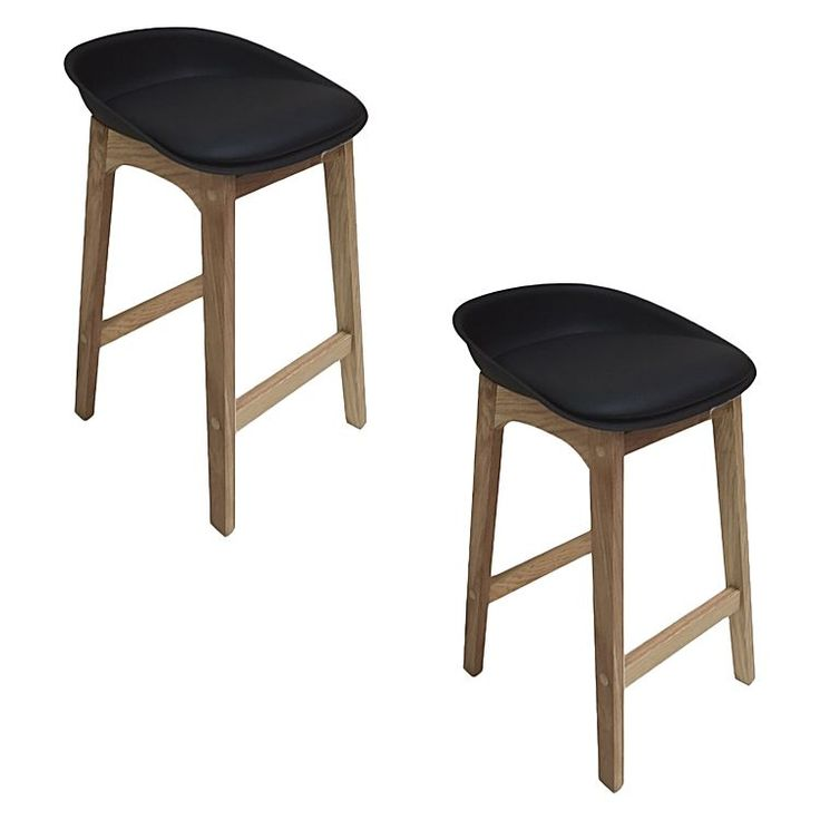 Unleash minimalist, contemporary design in your interior with the pine timber base of the Bryan Bar Stool, Black (Set of 2) from Harmony.