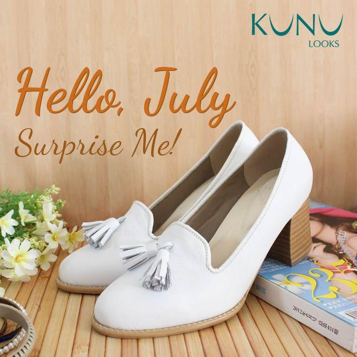 Hello July! Leather shoes, loafer chunky heels, white shoes, kunu looks