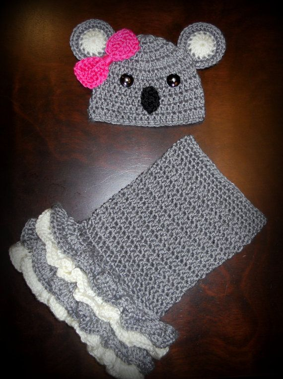 Crochet Koala Tutu Dress & Matching Beanie Hat by CubbyCreations, $60.00