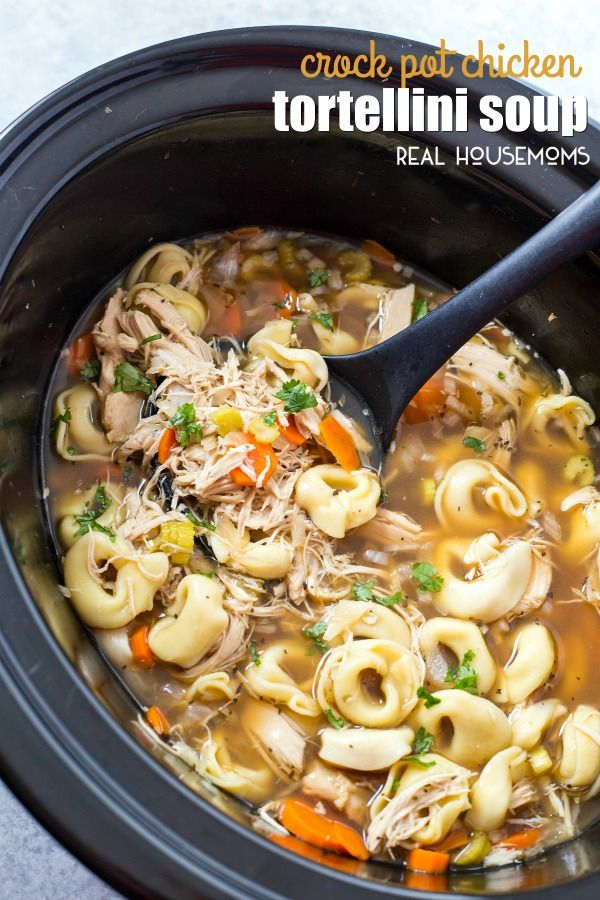 CROCK POT CHICKEN TORTELLINI SOUP is the easiest chicken noodle soup you will ever make! It's sure to become a fall and winter staple at your house!