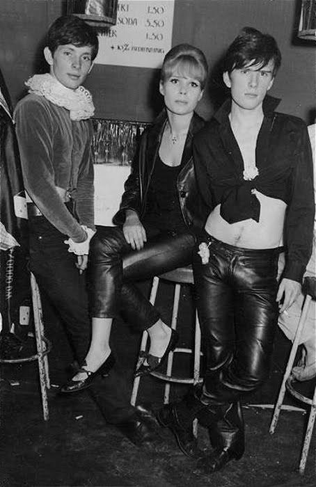 Klaus Voormann, Astrid Kircherr, and Stuart Sutcliffe at party in Hamburg, Germany, early 1960's.