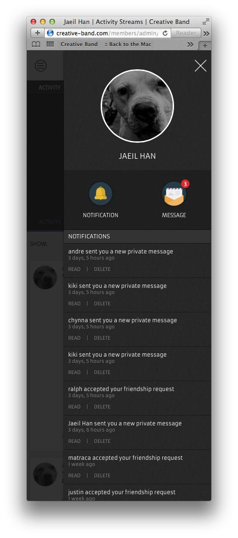 BuddyPress Theme - CB2014  My Profile Area with Notifications list