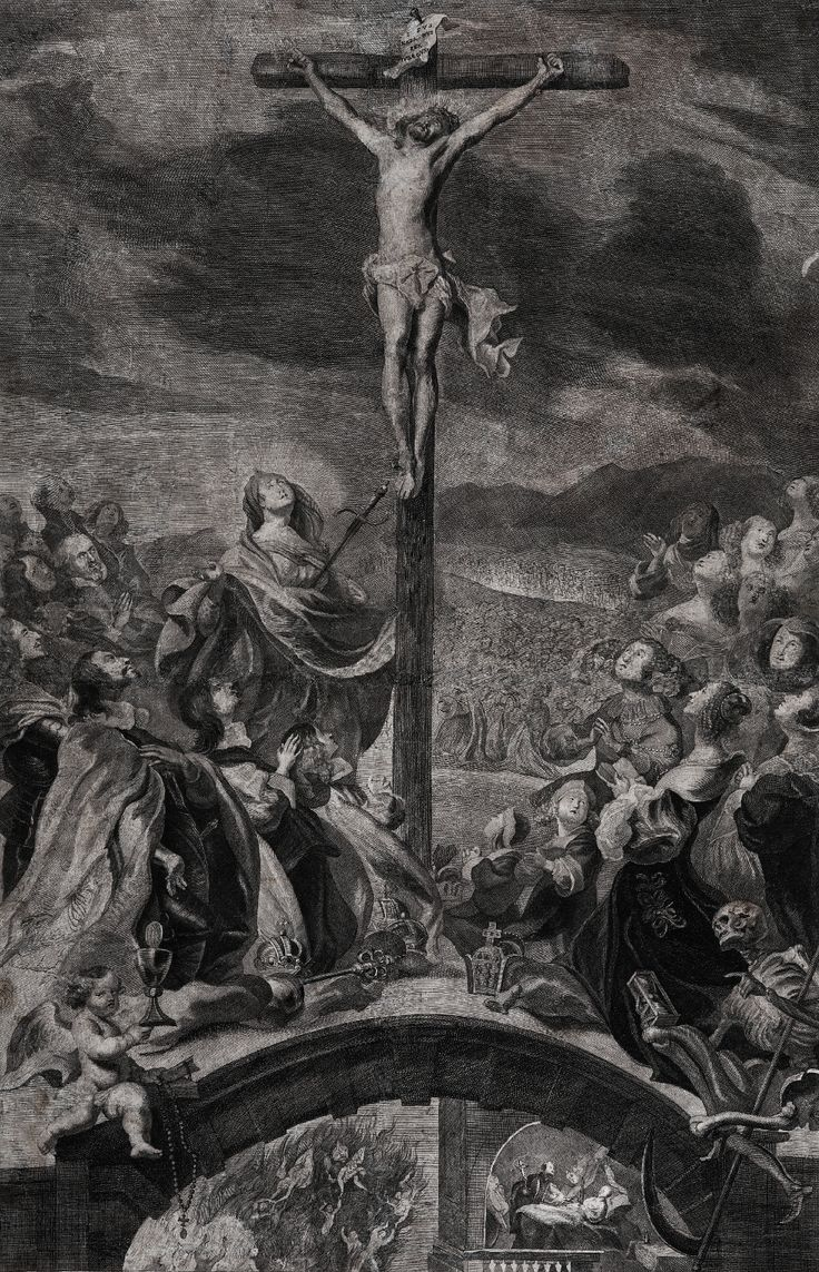 Emperor Ferdinand III with his sons and Empress Eleonor Gonzaga (1630-1686) with daughters kneeling before the crucified Christ by Frans van der Steen after Frans Luyckx, 1668 (PD-art/old), Muzeum Narodowe w Kielcach (MNKI)