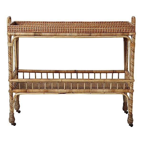 """Serena & Lily; $395.00; South Seas Bar Cart  40"""" W x 15"""" D x 32"""" H. Clear lacquer finish. (Note: Rattan is a natural material, so color may vary slightly from piece to piece and will darken over time when placed in direct sunlight.) (Item # TB-ACC30)"""