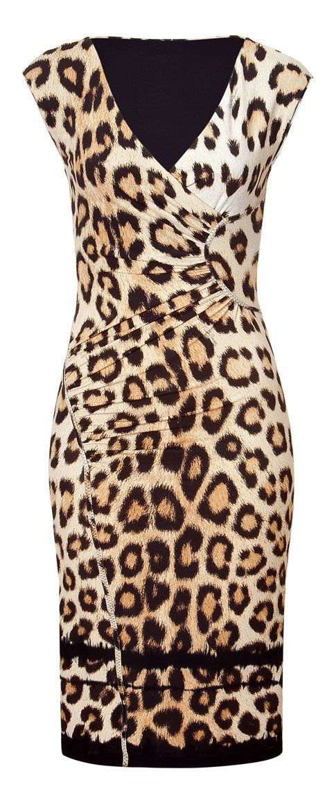 ROBERTO CAVALLI  Beige/Black Leopard Print Dress