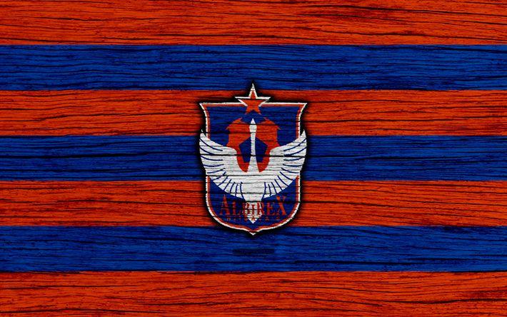 Download wallpapers Albirex Niigata, 4k, emblem, J-League, wooden texture, Japan, Albirex Niigata FC, soccer, football club, logo, FC Albirex Niigata