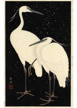 井出岳水 雪中白鷺 Herons in Snow (Black Background)