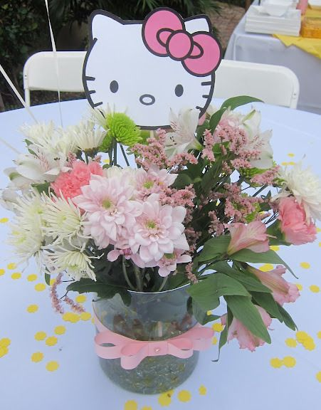 "Millie, do you think this is a pretty bouquet of flowers?  Millie, can you say, ""Hello Kitty, flowers?""  If we put the flowers in the center of table, it will be called a centerpiece, Millie.  It will be a Hello Kitty flower bouquet centerpiece."