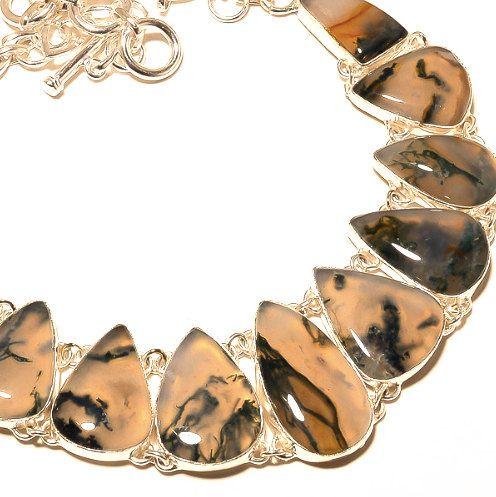 925 Sterling Silver Moss Agate Genuine Gemstones Statement Bib Necklace!! by Ameogem on Etsy