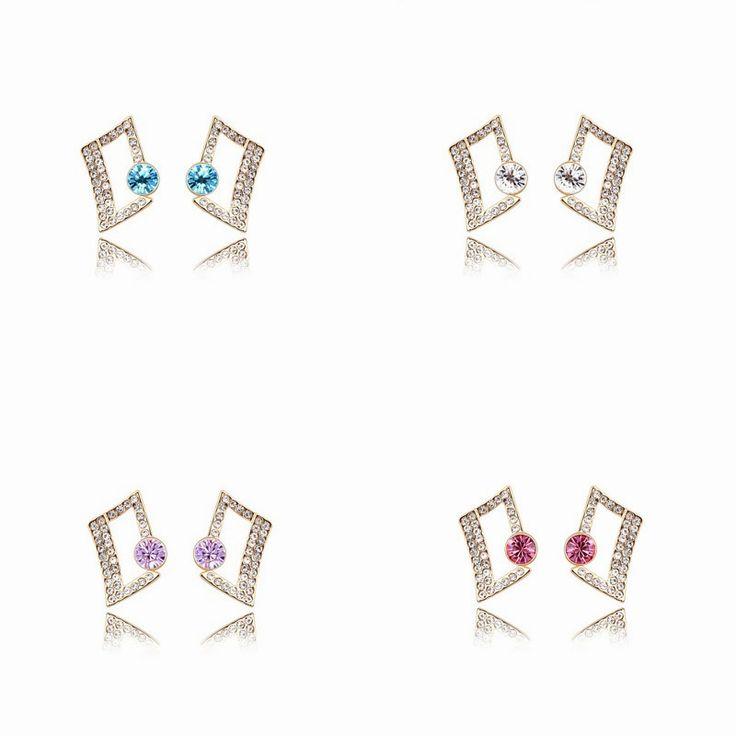 Austrian Crystal Stud Earrings - Geometric Squares