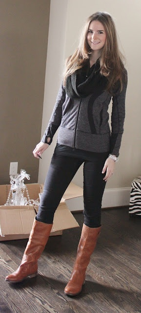 brown boots with leggings | Things to Wear