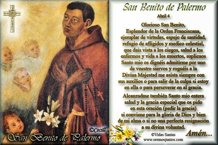Vidas Santas: Estampita Oración de San Benito Massarari de Palermo