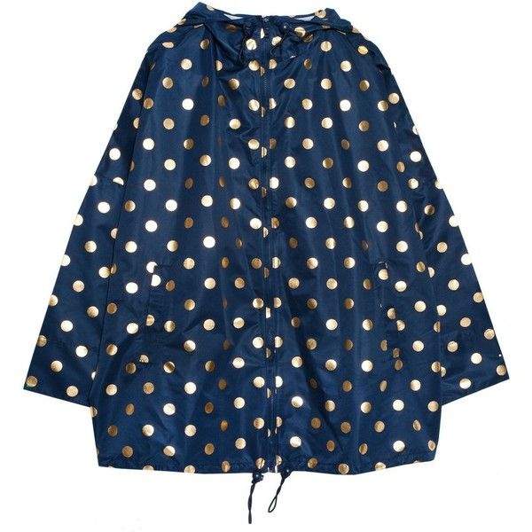 Foil spot raincoat ($75) ❤ liked on Polyvore featuring outerwear, coats, jackets, gorman, raincoat, mac coat, water resistant coat, toggle coats, blue coat and polka dot raincoat