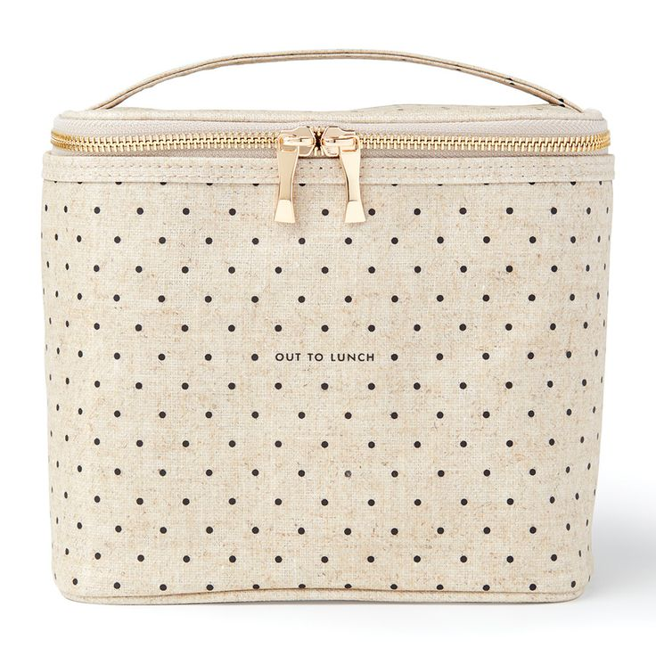 Stylishly arrive at a picnic with this Out To Lunch cool bag from kate spade new york. Made from coated linen with a sophisticated dotted appearance, this elegant bag is perfect for using as a small c