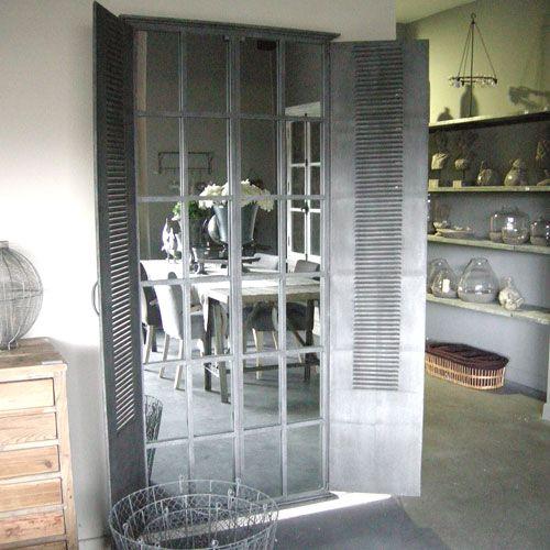 Miroir volet persienne xxl en m tal zinc hanjel style for Decoration fenetre persiennes
