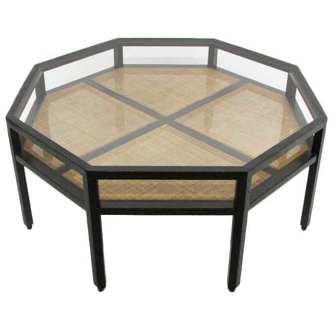 This Unusual Eight Sided Coffee Table Features A Two Tiered Frame In Ebonized Cerused