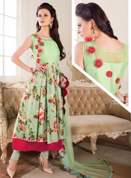 Green designer floral print anarkali churidar kameez in silk and net J15145