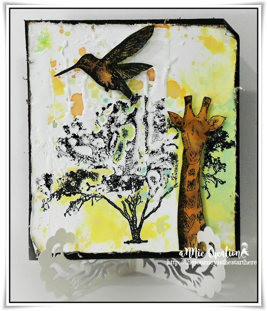 Mixed media giraffe card with Rubber Dance Stamps