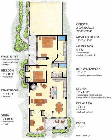 2 to 3 bedroom new orleans shotgun country ranch style for Narrow lot craftsman house plans