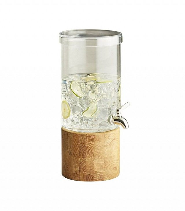 Crate and Barrel Refreshment Drink Dispenser  Water is always an essential at a party, but especially one under the sun. Entice your guests to stay hydrated (and save yourself from running around) by providing fruit-infused water from a self-serve beverage dispenser.