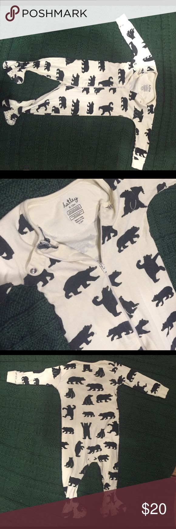 Hatley sleeper Size 6-12 month, super soft and great condition. Loved this print and sad to see it go. One of my fav brands for the kids.  Features: Eco-friendly 100% organic cotton Made to be snug fitting Full length zipper closure Snap tab at neckline Contrast neckband and cuffs Non-skid soles Machine washable  100% organic cotton. Hatley Pajamas