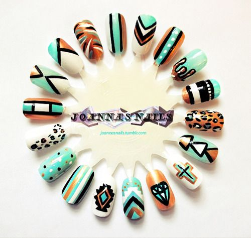 Mint nails - mixup nail art design wheel. I'm loving the Aztec!