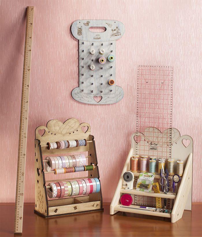 Organizadores para washi, cintas, bobinas y utensilios en maderas decoradas