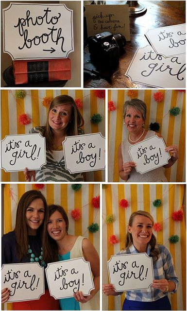 Gender reveal party photobooth - have guests take a photo with their guess and use mustache and lip props!