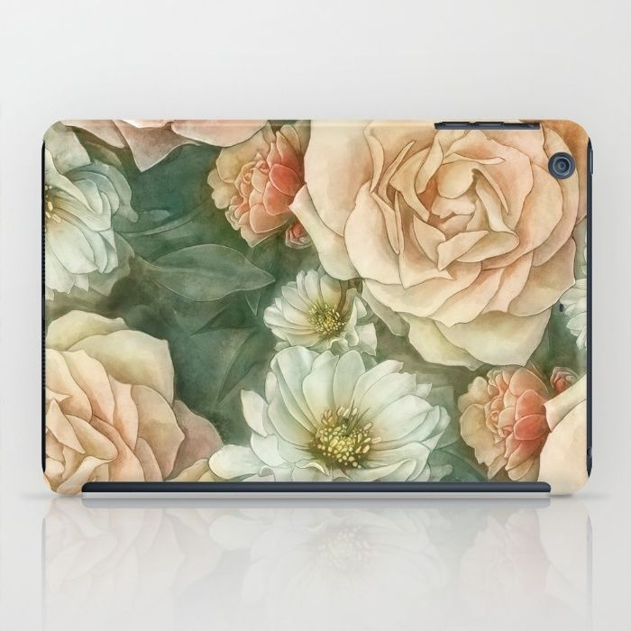 Floral rose pattern iPad Case by StrijkDesign | Society6