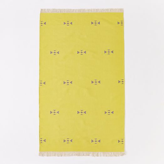 Steven Alan Arrowhead Cotton Kilim Rug - Sun Yellow | West Elm