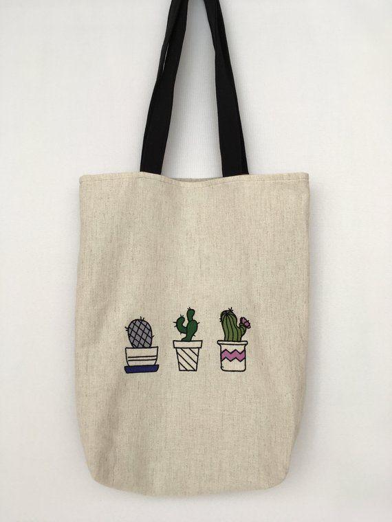 Cactuses market bag embroider Vegan tote bag Linen market bag mothers day  gift  7d32ce27f3