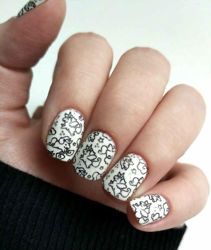 Black and White Unicorn nails