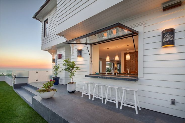 Gas Strut Windows: Luxurious Outdoor Kitchen Ideas With Variety Of Other Special Equipment: Charming Outdoor Kitchen Ideas With Awning Window And Beach Home Also Coastal Living Plus Counter Stools With Grass And Kitchen Window Also Ocean View Plus Outdoor Sconce For Beach Style Patio ~ klfs.org Exterior Inspiration