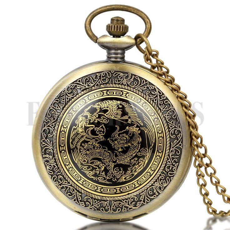 Men s Hunter Antique Style Twin Bliss Quartz Digital Pocket Watch On Chain Gift