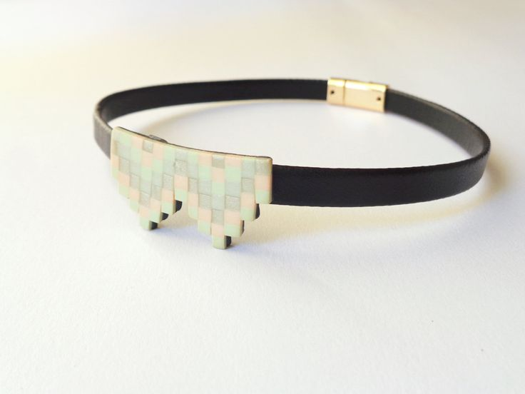 Geometric Pastel Choker Necklace, Black Faux Leather Choker, Aztec Necklace, Art Deco Necklace, Polymer Clay Jewelry, Pixel Choker, by FairyDustHC on Etsy
