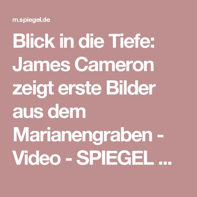 Blick in die Tiefe: James Cameron zeigt erste Bilder aus dem Marianengraben - Video - SPIEGEL ONLINE