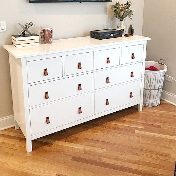 Chic Dresser Upgraded With Leatherpulls In 2020 White Dresser