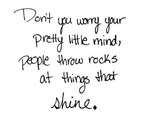 People throw rocks at things that shine. Don't ever give up, even if words by others attempt to put you down.