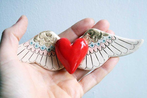 Winged Heart Sculpture Ceramic Wall Art Red Ceramic Heart