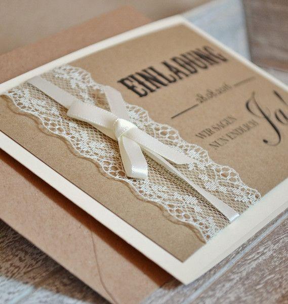 einladungskarten vintage mit spitze zur hochzeit von. Black Bedroom Furniture Sets. Home Design Ideas