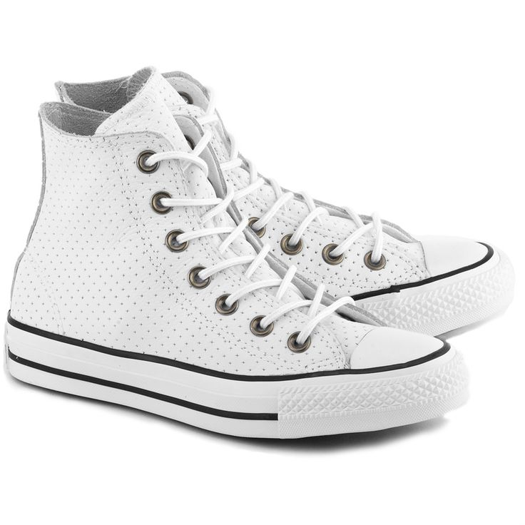 CONVERSE Chuck Taylor All Star Hi - Białe Skórzane Trampki Damskie #mivo #mivoshoes #shoes #buty #trampki #converse #white #color #leather #fashion #blogger #fashionblogger #style #stylish #spring #summer #newcollection #new #collection #2016 #shoesaddict