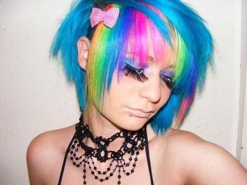 Turquoise Bob, With Rainbow Bangs