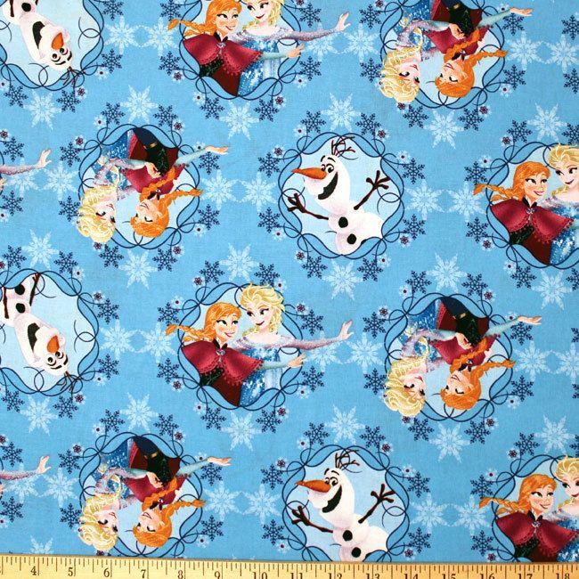 By 1/2 yard Disney Frozen Sisters on Ice Anna Elsa Olaf blue 100% cotton fabric #SpringsCreative