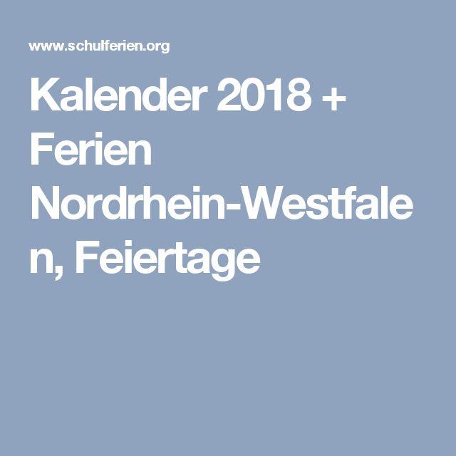 Kalender 2018 + Ferien Nordrhein-Westfalen, Feiertage