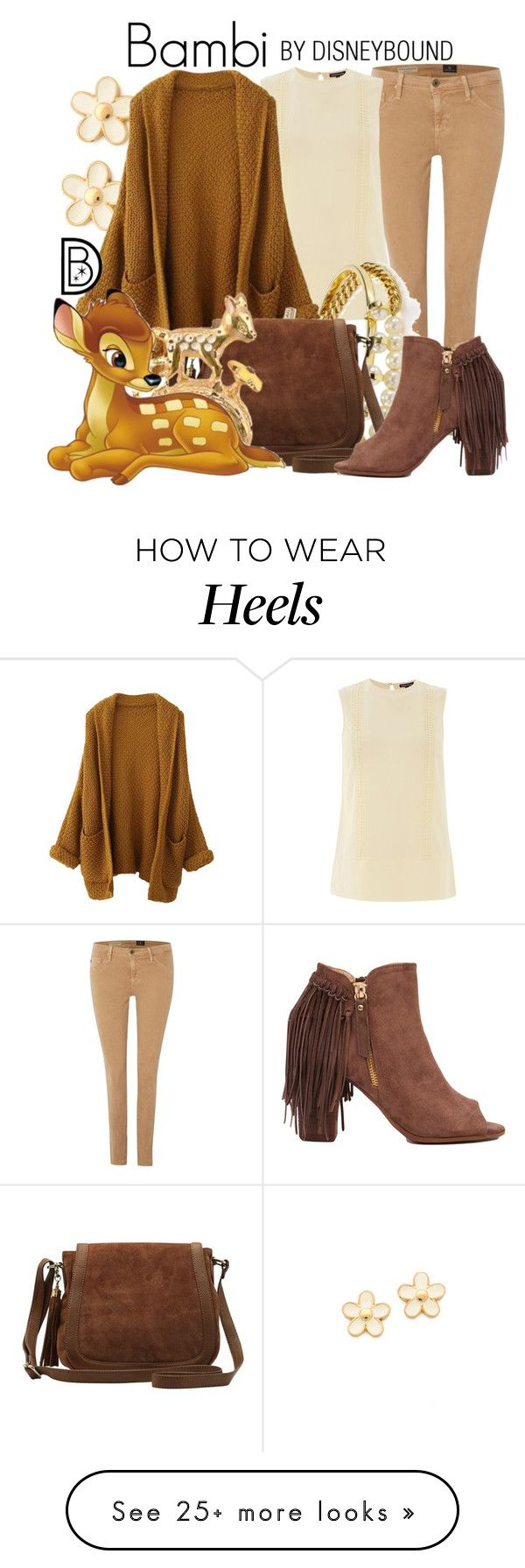 """""""Bambi"""" by leslieakay on Polyvore featuring mode, AG Adriano Goldschmied, Marc by Marc Jacobs, Warehouse, BaubleBar, M&Co, Akira, disney, disneybound et disneycharacter"""